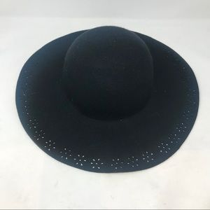 Black Wool Floppy Wide Brim Hat